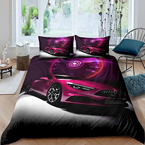 Juego de ropa de cama para coche de carreras juvenil, juego de ropa de cama deportiva con 2 fundas de almohada, tamaño king, color morado