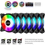 Novonest 120mm 5Vで PCケースファン AURA Sync対応 ARGB 虹色 LEDリング搭載 静音タイプ 25mm厚 PWM 6本1セット【T7SYC7-6】