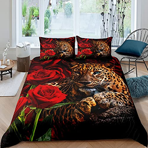 richhome Juego de ropa de cama floral para mujer, tamaño súper king, potente funda de edredón Panthera Big Cat, flores de San Valentín, 3 piezas, funda de edredón de lujo de animales de leopar