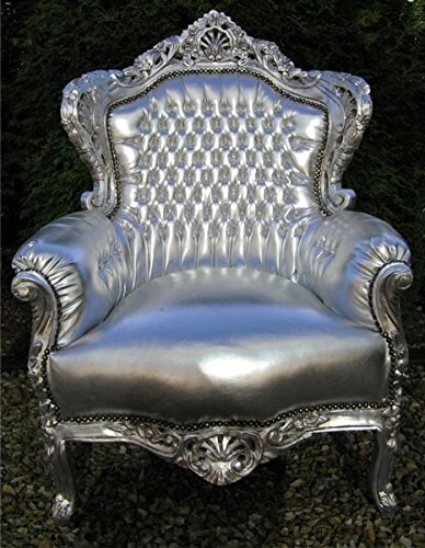 Casa Padrino Barock Stuhl 'King' Silber/Silber Lederoptik