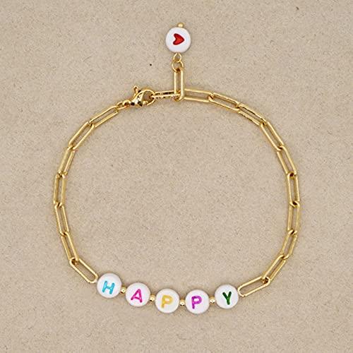 CXWK Pulsera para Mujer Pulseras de Acero Inoxidable Love Letter Jewelry Femme
