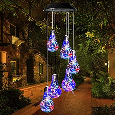 Solar Wind Chime Lights - Mobile IP65 Waterproof Solar Wind Chimes Lights with Changing Colors Led Solar Wind Chimes for Outside, Patio, Yard. (Bulb)