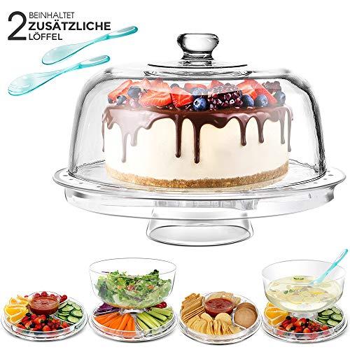 Masthome Soporte para Tartas 6 en 1 Multifuncional,31,5 cm,para Cocina,Fiesta,Banquete,con 2 Piezas Cuchara de Ensalada