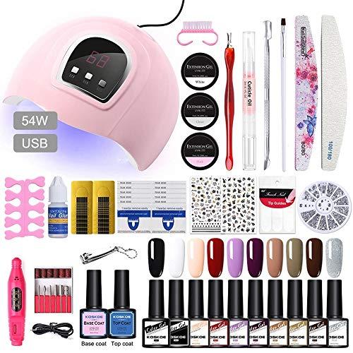 Kit de esmalte de uñas con 48W UV Light Starter Kit Set de esmalte de gel -16 colores, lámpara de uñas LED con herramientas de manicura mejoradas (10COLORS-SET3)