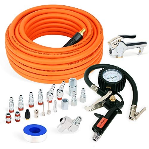 FYPower 22 Pieces Air Compressor Accessories kit, 3/8 inch x 50 ft Hybrid Air Compressor Hose Kit, 1/4' NPT Quick Connect Air Fittings, Tire Inflator Gauge, Heavy Duty Blow Gun, Swivel Plugs