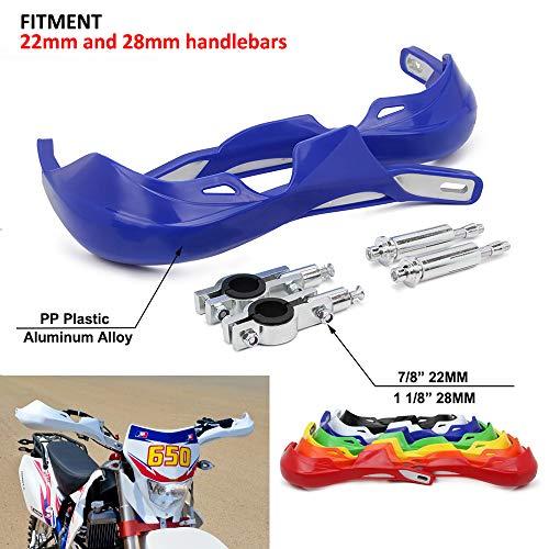 Motocross - Protectores de Mano para Moto de Cross (22 mm y 28 mm, Polipropileno, universales, para Yamaha YZ80 YZ85 YZ125 YZ250 YZ250F), Color Azul