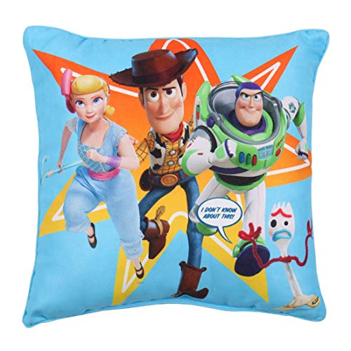 Toy Story 4 Square Cushion Pillow | Officially Licensed Super Soft Two Sided Buzz Lightyear Woody Design | Perfect for Any Children's Room Or Bedroom, Blue, 40 x 40cm, 40cm x 40cm