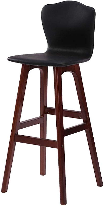 CCF Solid Wood Bar Chair High Back Chair European Bar Stool Creative Wooden Bar Stool High redating Bar Chair V (color   F)