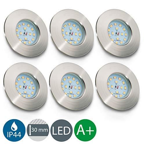 LED Badeinbaustrahler ultra flach inkl. 6 x 5W LED Modul 230V IP44 LED Einbauleuchte Bad Deckenspots Einbaustrahler Bad LED Spot warmweiss 6 x 400lm