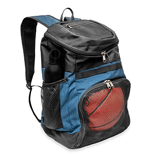 Xelfly Sports Ball Backpack with Shoe Compartment Soccer, Basketball, Volleyball Bag with Elasticized Mesh Side and Zippered Pockets  Includes Laundry Bag for Dirty Clothes and Uniforms (Blue)