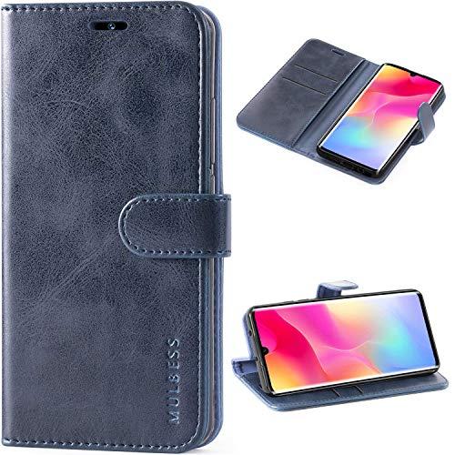 Mulbess Vintage Handyhülle für Xiaomi Mi Note 10 Lite Hülle Leder, Xiaomi Mi Note 10 Lite Handy Hüllen, Flip Handytasche Schutzhülle für Xiaomi Mi Note 10 Lite Hülle, Navy Blau