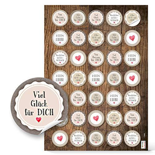 Logbuch-Verlag 70 Glückwunsch Aufkleber Vintage ALLES GUTE Liebe Herzen in beige rot grau - zum Basteln Verzieren Geburtstag Geschenke Verpackung Geschenkverpackung
