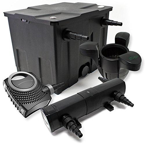 WilTec Kit de Filtration Bassin Bio 12000l Stérilisateur UVC 18W 80W Pompe éco Ecumeur