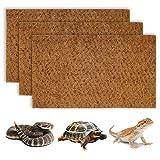 BWOGUE Reptile Carpet Natural Coconut Fiber Tortoise Lizard Mat,3 Pack Pet Terrarium Liner for Lizard Snakes Chamelon Geckos Turtle Bedding Mat Reptile Supplies