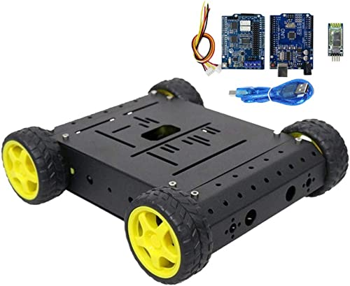 Almencla Robot Tank Car Chasis Kit Crawler Car con Motores para Arduino Raspberry Pi DIY Stem plataforma de Educación negro - 1 a 48TT Motor azultooth controlado