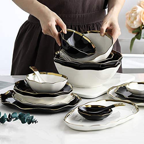 Porcelain Dinnerware Set, 40 Pieces Steak Ceramics Dinner Sets | 12 Plate / 12 Bowl - Irregular Phnom Penh Tableware Combination Set for Restaurant