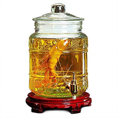 TLMYDD Mason Jar Vaso de Vino dispensador Leche Cerveza café Bebida Familiar Bar Fiesta Agua dispensador 3.5L / 5L / 10L Dispensador de Bebidas (Color : 10L, Size : Copper Spigot-Wood Base)