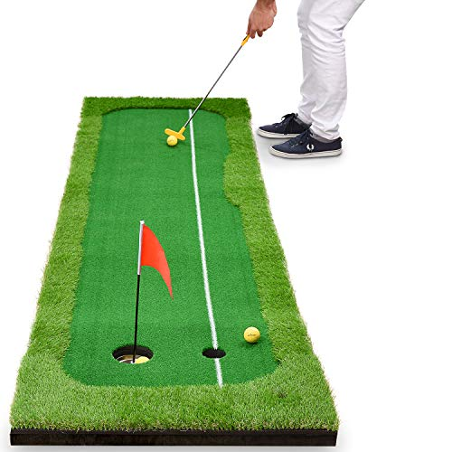 Abco Tech Synthetic Turf Putting Practice Indoor Golf Mat – Life-Like Artificial Green Turf Grass – Includes 3 Bonus Balls – Long-Lasting Design (2.5ft x 10ft)