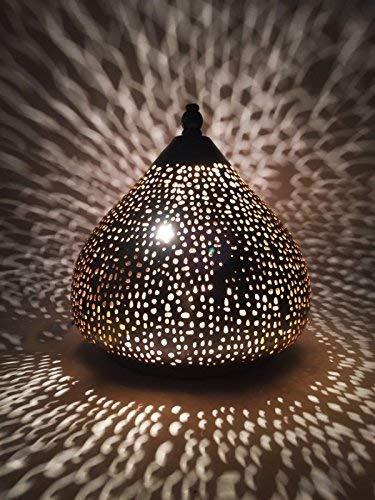 Orientalische kleine Tischlampe Lampe Roya 23cm Silber | Marokkanische Tischlampen klein aus Metall, Lampenschirm silberfarben | Nachttischlampe modern, für Vintage, Retro & Landhaus Stil Design