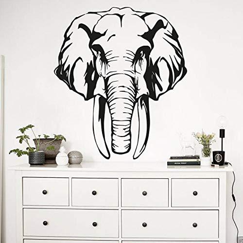 jiushivr Elefante Africano con Sharp Ivory Vinyl Wall Sticker Animal Art Adventure Poster Dormitorio Decoración Murales Living roo 56x64cm