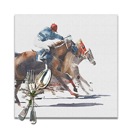 ArtSocket Placemats for Dining Table Horse Race Competition Derby Racing Resistant Anti-Skid Washable Place mats Set of 6