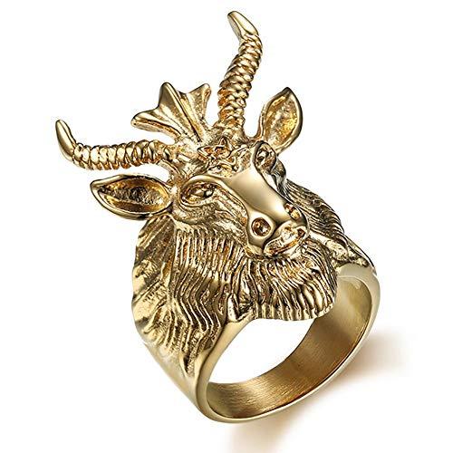 XBYMEN Herren Gold überzogenen Edelstahl Satan Davidsterne Ram Worship Baphomet Ziege Kopf Radfahrer Ring