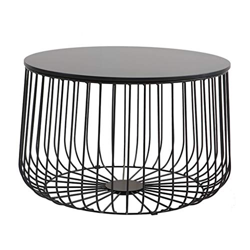 Caged Side Tables for Living Room  Pre-Assembled Geometric Contemporary Coffee Tables for Small Spaces   Metal & Round Wooden Top   Bedroom Nesting End Bedside Tables
