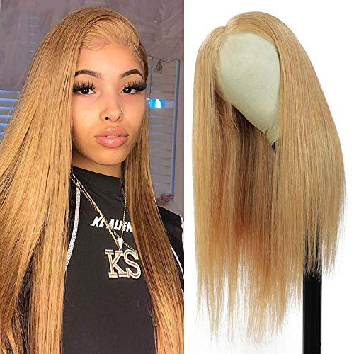 Muokass 4x4 Lace Front Wigs Straight Hair Brazilian Virgin Human Hair Lace Closure Wigs For Black Women 150% Density Pre Plucked With Elastic Bands Natural Color Hairline (20 inch, #27 straight wig)