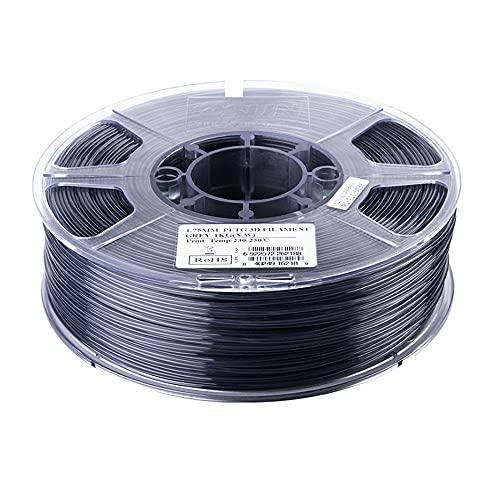 PETG Filament 1.75mm, 3D Printer Filament PETG Accuracy +/- 0.05mm,1KG 2.2LBS Spool, 3D Printing Materials for 3D Printers-transparent grey