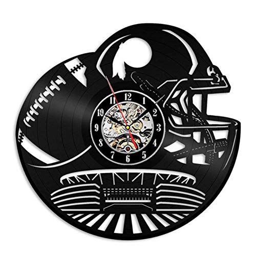 GenericBrands Wall Clock Vinyl Record Rugby team Creative Vinyl record wall clock modern home CD Record decor retro living room decoration Christmas handmade gift 12 inches - With 7LED lights