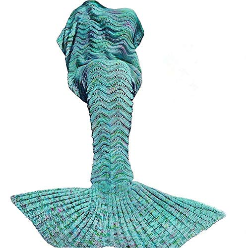 DDMY Mermaid Tail Blanket Crochet Mermaid Blankets Seasons Warm Soft Handmade Sleeping Bag Best Birthday Christmas gift For Kids Teens...