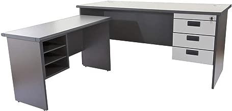 Mahmayi Grigio L Office Desk, 75 x 160 x 74 cm, Grey, AT160LHD