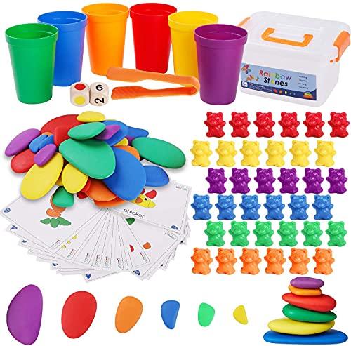 BBLIKE Juguetes Montessori 2 EN 1 Contar Osos y Arcoiris Set de Juguetes de Piedras, Juego de Combinación de Color Juguetes apilar Habilidades matemáticas y Clasificación, Juguetes Educativos 3 años