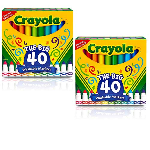 Ultra Clean Washable Broad Line Markers, 40 Classic Colors (2 Pack)