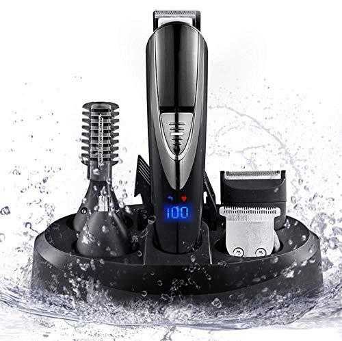N /A QJYZX Tondeuses à Cheveux IPX7 Tondeuses sans Fil étanches Tondeuse à Cheveux Barbe Kit de Coupe de Cheveux électrique USB Rechargeable LED Display Barbe Tondeuse pour Hommes et Famille
