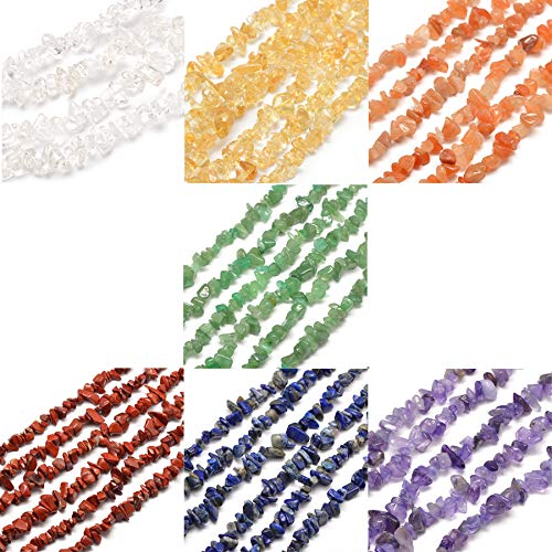 Cheriswelry 7Strands Chakra Gemstone Bead Chips 5~8mm Tumbled Gems Healing Chakra Reiki Crystals for Gem Tree Making Jewellery Necklace Keyring Making