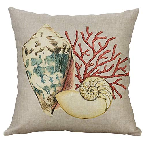 Arystk Cushion Cover Marine Life 40x40cm Linen Pillowcase Home Decorative