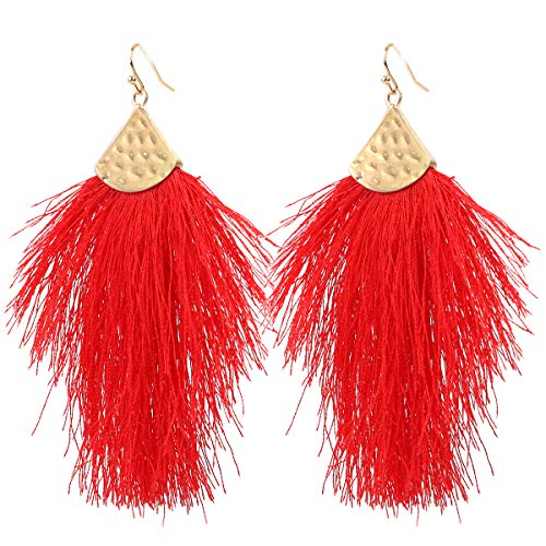 Vine Gems Pendientes de plumas con flecos para mujer – Boho Borla Joyería – Rojo