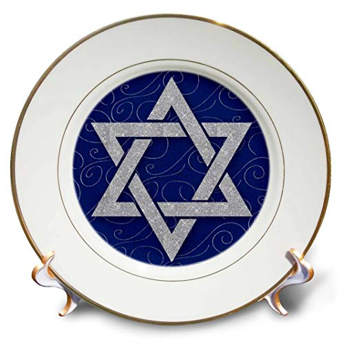 3dRose Star of David Faux Glitter On Blue and Silver Swirls Hanukkah Plate, 8'