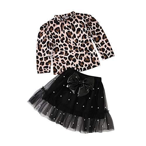 Kleinkind Kinder Baby Mädchen Leopard Drucken T. Hemd Bogen Tüll Rock Outfits einstellen A288