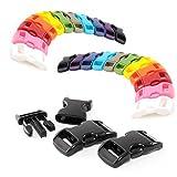 Ganzoo klick-Verschluss aus Kunststoff im 22er Farb-Mix Set, 3/8' / Klippverschluss/Steckschließer/Steckverschluss für Paracord-Armbänder, Hunde-Halsbänder, Rucksack