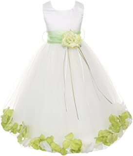 White Satin Bodice Floating Flower Petals Girls Dress Double Tulle - 24 Colors