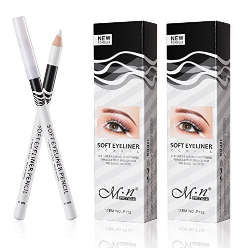 White Eyeliner Pencil Professional Highlighter Eye Liner Pen Soft Strokes Waterproof Long-Lasting Eyeshadow Eye Silkworm Brighten Pencil Beauty Makeup Tool (24pcs)