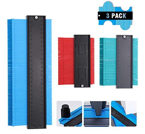 Konturenlehre, LIUMY Konturmessgerät(120/250mm) 3 Packung Konturenlehre Drei verschiedene Farben (Blau, Gelb,Grun), Konturmesser zum Übertragen von Konturen & Schnittverläufen.