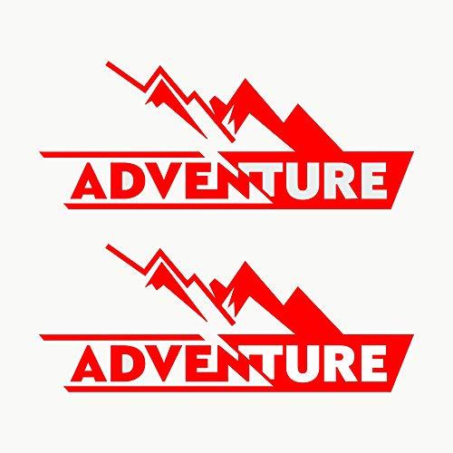 Autodomy Pegatinas Adventure 4x4 Off Road Todoterreno Sport Maletas Moto Cofre Trail Pack 2 Unidades para Coche o Moto (Rojo)