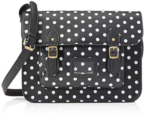 Miss Lulu Damen LT1665D2 BK Handtasche, Polka Dot Black, L