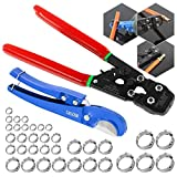 IBOSAD PEX Cinch Tool Pipe Crimping Tool for 3/8-inch to 1-inch Stainless Steel Clamps with 10PCS 3/8',1/2' 3/4'and 5PCS 1' SS PEX Clamps