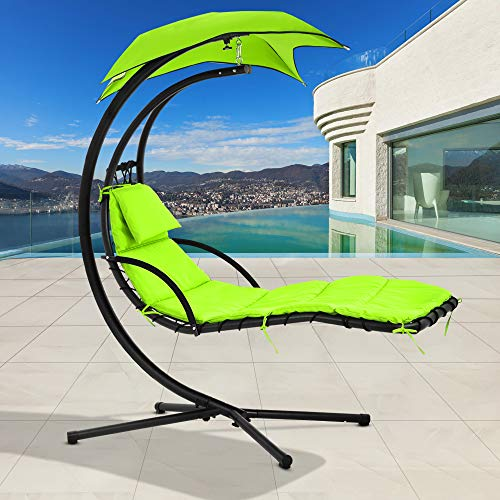 Hammock Chair Hammock Stand Outdoor Chair Patio Lounge Chair Outdoor Hanging Chair Patio Swing Chair Best Patio Chair Hanging Chaise Lounger Chair Floating Chaise, with Pillow and Canopy,Green