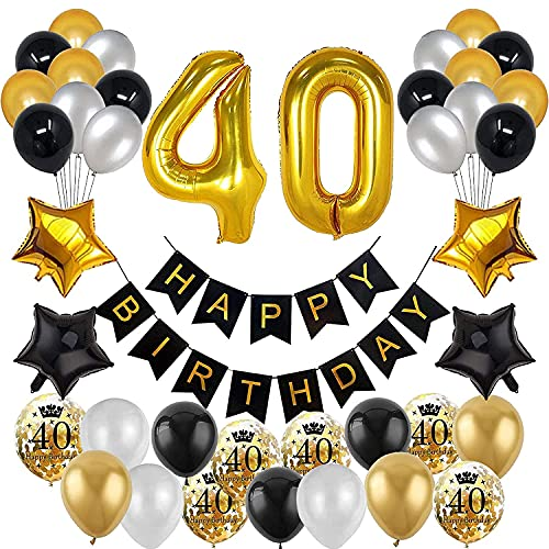 30 Pièces Ballon Or Noir Ballon,40 Ans Homme&Femme Ballons,Ballon or Noir,Décorations de Fête D'anniversaire Kit Noir,20g 40e Confettis de Table Anniversaire ,Latex Confettis Ballons (40)