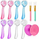 10 Pieces Exfoliating Facial Cleaning Brush with Cap Silicone Face Scrubber Exfoliator Brush Pad with 2 Pieces Facial Mask Applicator Brush to Massage and Scrub Your Skin